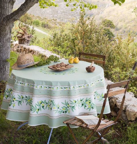 Olive Blossom Tablecloth Round 180cm